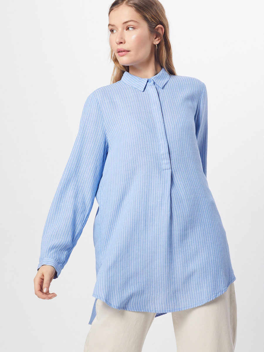 Essential klassische blaue Bluse Basic